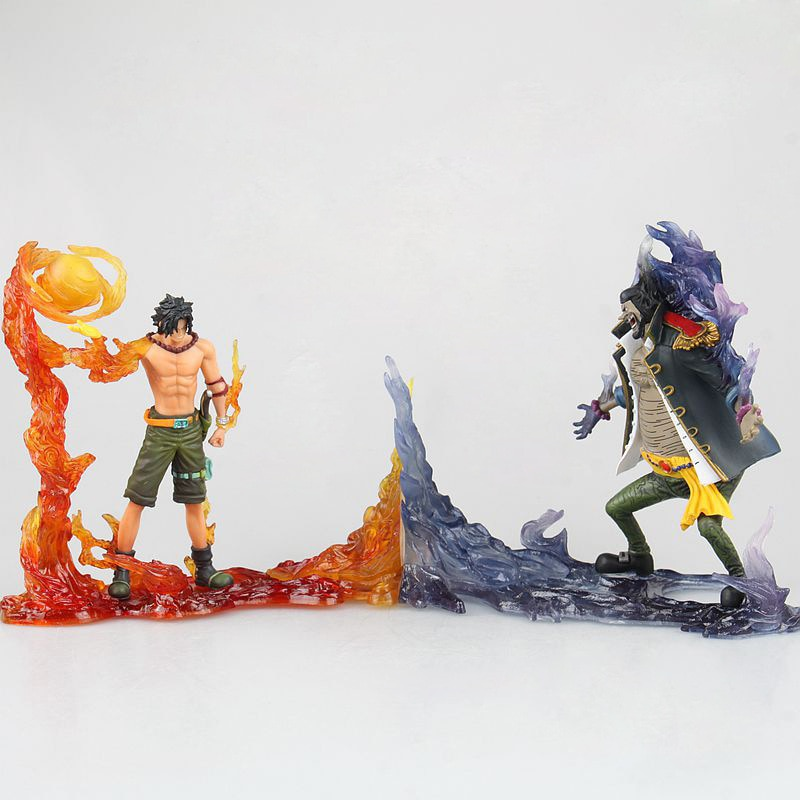 2pcs/lot One Piece DXF Portgas D Ace VS Marshall D Teach Action Figure Endgame Anime PVC Collection Model Toys 15cm anime one piece figure combat version marshall d teach figure toys collection pvc action figure one piece toys model gifts