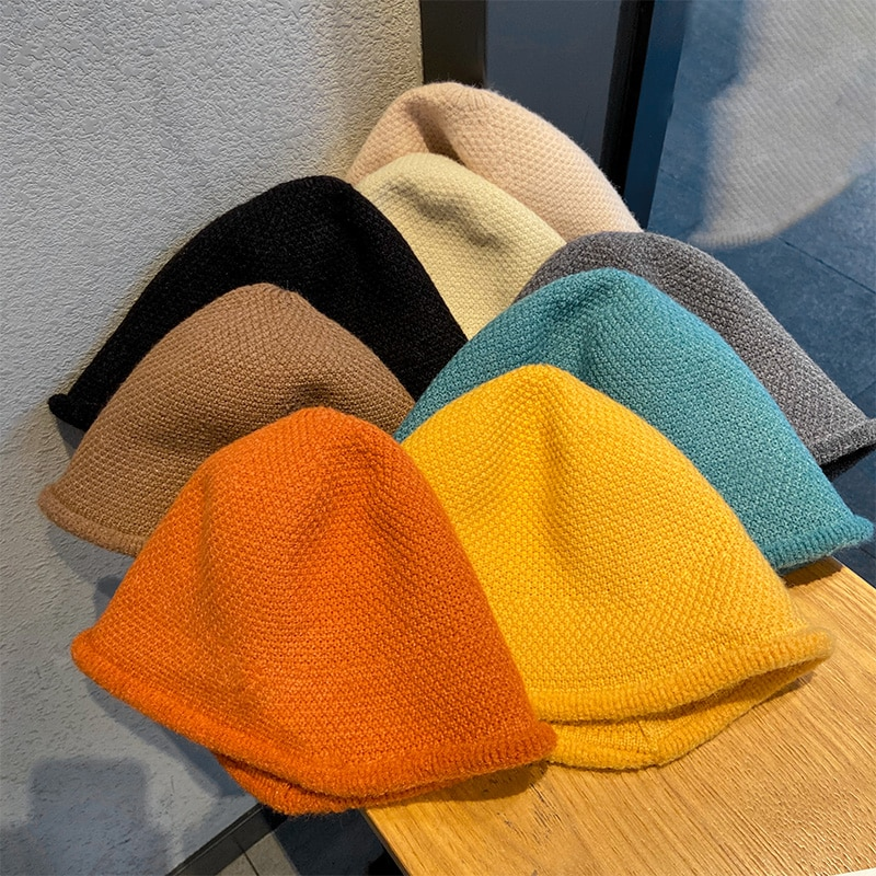 Pure Color Knitted Fisherman Hat Women's Autumn and Autumn Winter Korean Style All-Match Japanese St