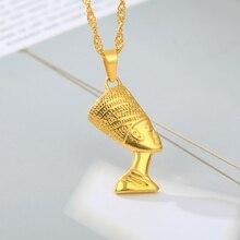 Egypte pharaon Portrait collier acier inoxydable eau vague chaîne exotique pendentif pour femmes hommes or couleur bijoux cadeau africain