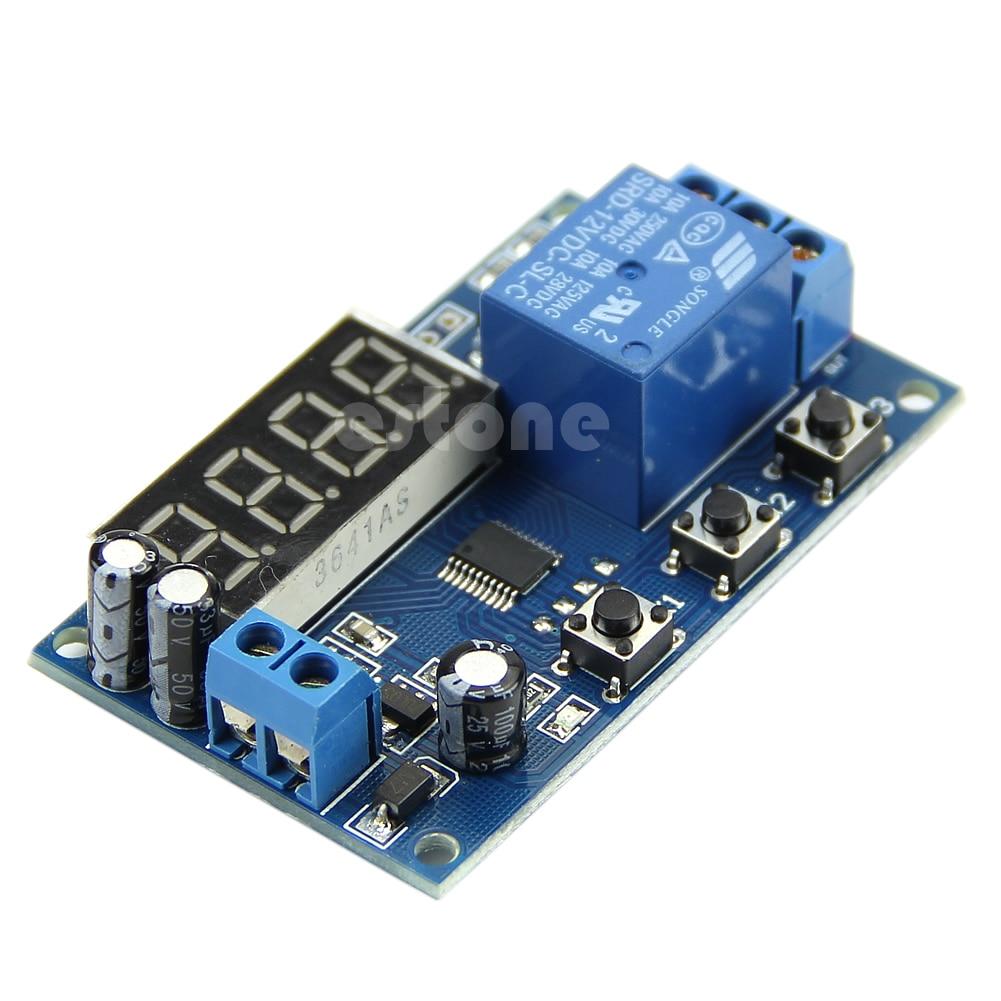 12V DC LED pantalla Digital retardo interruptor de Control del temporizador módulo PLC automatización
