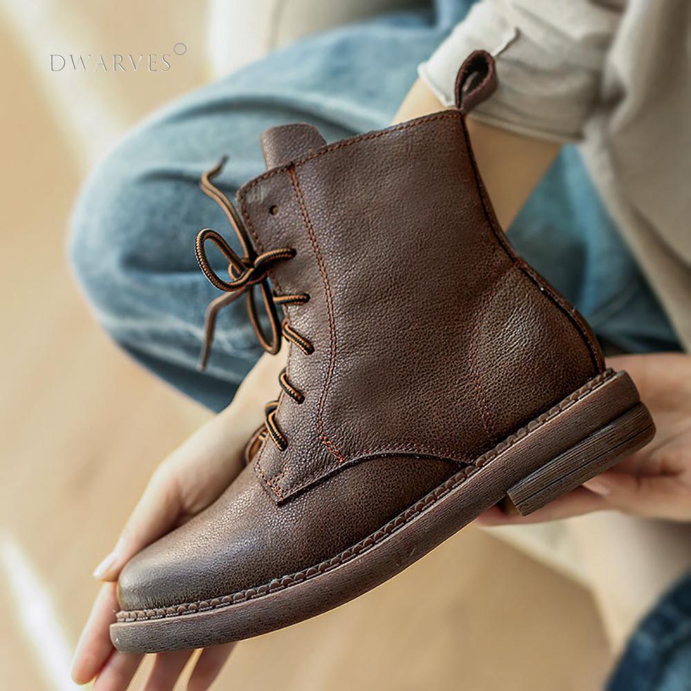أحذية مارتن المصنوعة يدويًا من الجلد الرجعية ، أحذية قتالية بالفرشاة ، مقدمة مستديرة ، كعب منخفض ، قاع مسطح ، أسود/قهوة