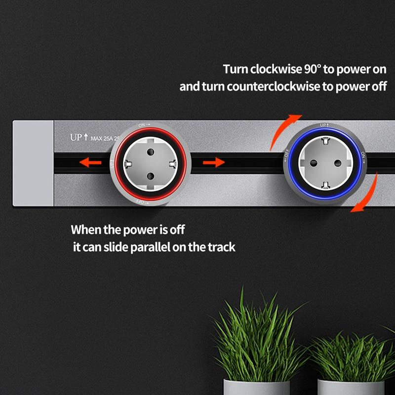 KXN مقبس الطاقة المسار أخفى جزءا لا يتجزأ من الاتحاد الأوروبي القياسية تمديد الكهربائية المخرج مع محول LED/المقابس للمنزل مكتب kicafter