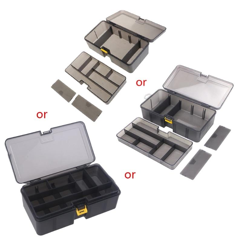 Caixa de Armazenamento Isca de Pesca de Plástico Multi-divisão Dupla Camada Ferramenta Multifuncional Organizar Ganchos Case Durável Hx5b