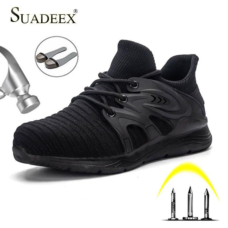 SUADEEX Sicherheit Schuhe Männer Arbeiten Stahl Kappe Kappe Anti-smashing Pannensichere Bau Arbeit Schuhe Non-slip Atmungsaktiv arbeit Stiefel