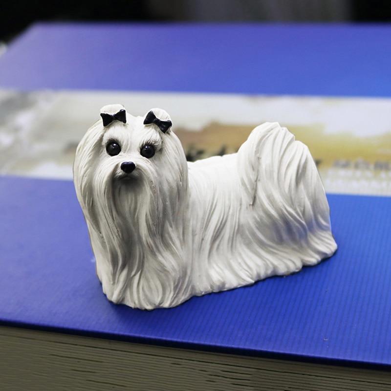 Perro maltés auténtico, perro de imitación alto, modelo de coche, decoración artesanal, colección de regalo para el hogar, decoración creativa para el hogar, artesanía