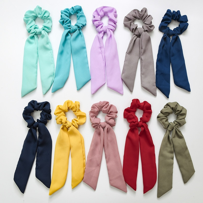 New Year Gift For Girls Cute Hair Scarf For Women Chiffon Solid Color Hair Scrunchies Ribbons For Pigtail