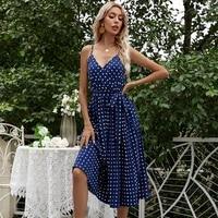 2021 summer new style european and american chiffon mid length lace up polka dot sling pleated dress women dresses ladies 2021