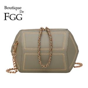 Boutique De FGG Embroidery Women's Fashion Shoulder Bags Green Faux Leather PU Crossbody Bag Small Chains Handbag Purse