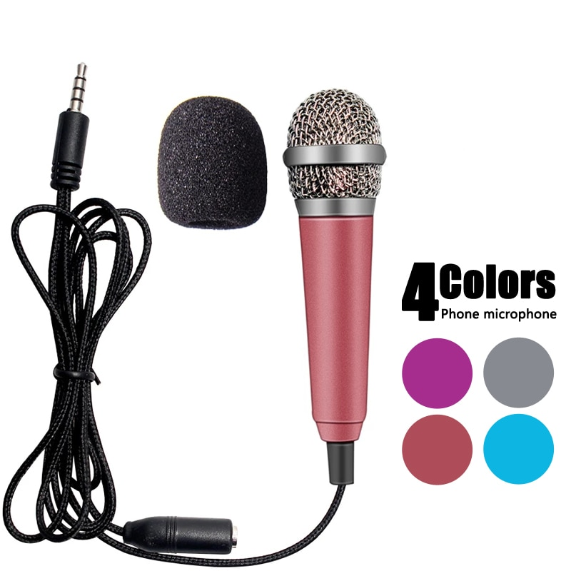 Portable Handheld Audio Microphone 3.5mm Stereo Studio Mic KTV Karaoke To sing Mini Microphone For Smart Phone Laptop PC Desktop