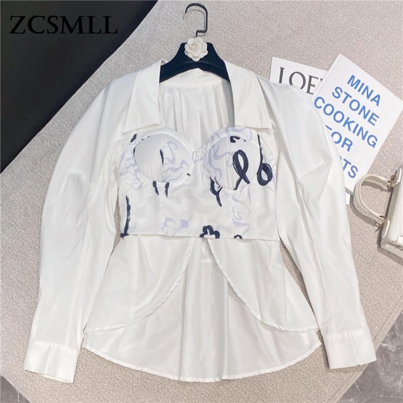 ZCSMLL 2021 خريف جديد الكورية نمط المتخصصة تصميم مثير الحبر الطباعة ملفوفة الثدي واقية من الشمس قميص طويل المرأة Tops القمم