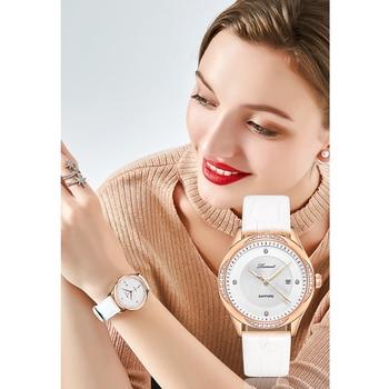 LUOSCAT Genuine watch female fashion trend waterproof 2020 new leather calendar watch belt watch simple