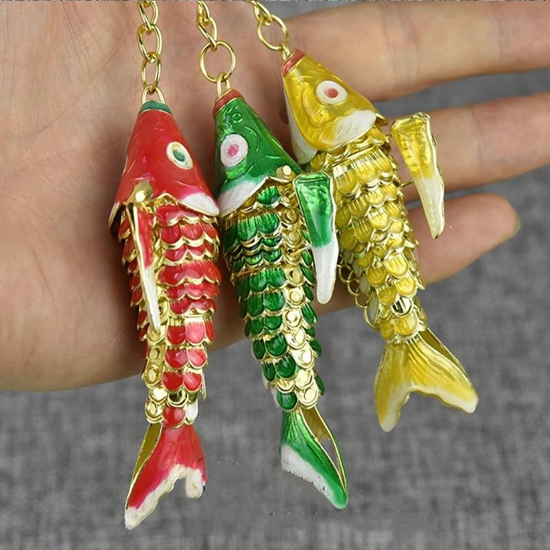 Llavero con forma de pez Koi esmaltado con forma de columpio realista de 5,5 cm y 8,5 cm con caja de regalo para hombres y niños y mujeres, llavero de pez carpa elegante Cloisonne