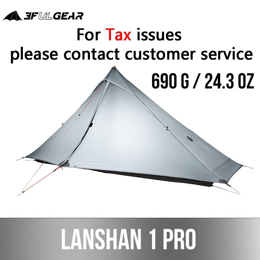 3F UL GEAR Lanshan 1 Pro خيمة خارجية 1 شخص 3-4 الموسم خفيفة المشي لمسافات طويلة التخييم المهنية 20D roless خيمة