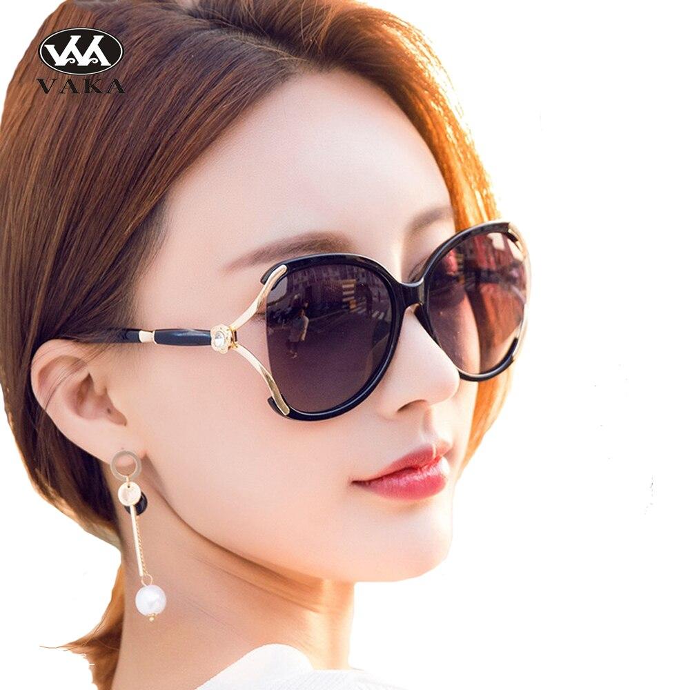Vaka Women Vintage Luxury Sun Wear Female Big frame Suglasses Anti Refection UV Protection Gradient lens