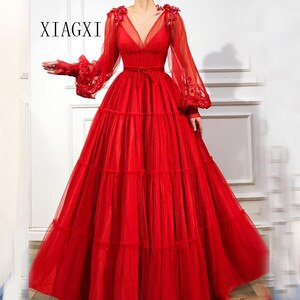 2020 Muslim Red Evening Dress Sheers A-Line Deep V-Neck Full Sleeves Long Evening Dresses Prom Dress Party Gowns Vestidos