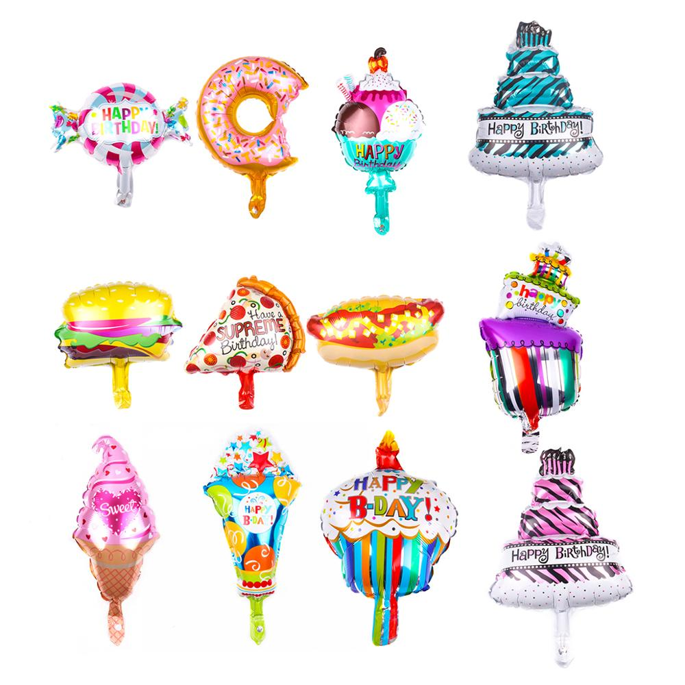 5-6Pcs/Bag New Mini Donut Birthday Cake Pizza Food Dessert Aluminum Foil Balloon Holiday Children's