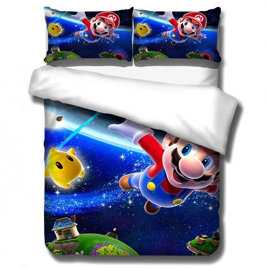 Ropa de cama 3D de Super Mario Bros Conjunto de niños lindo personaje dibujo estampado funda nórdica de la cama ropa de cama doble completo reina rey