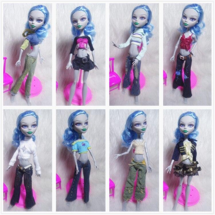 1 conjunto topos blusa calças jeans vestido roupas acessórios para monstro alta boneca para sempre depois de alta boneca