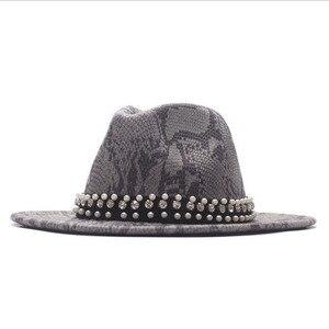 Women Men Fedora pearl Ribbon Wool Felt Jazz Cap Male Female Wide Brim Panama Vintage Floppy Trilby Hat Snake skin Panama Hat