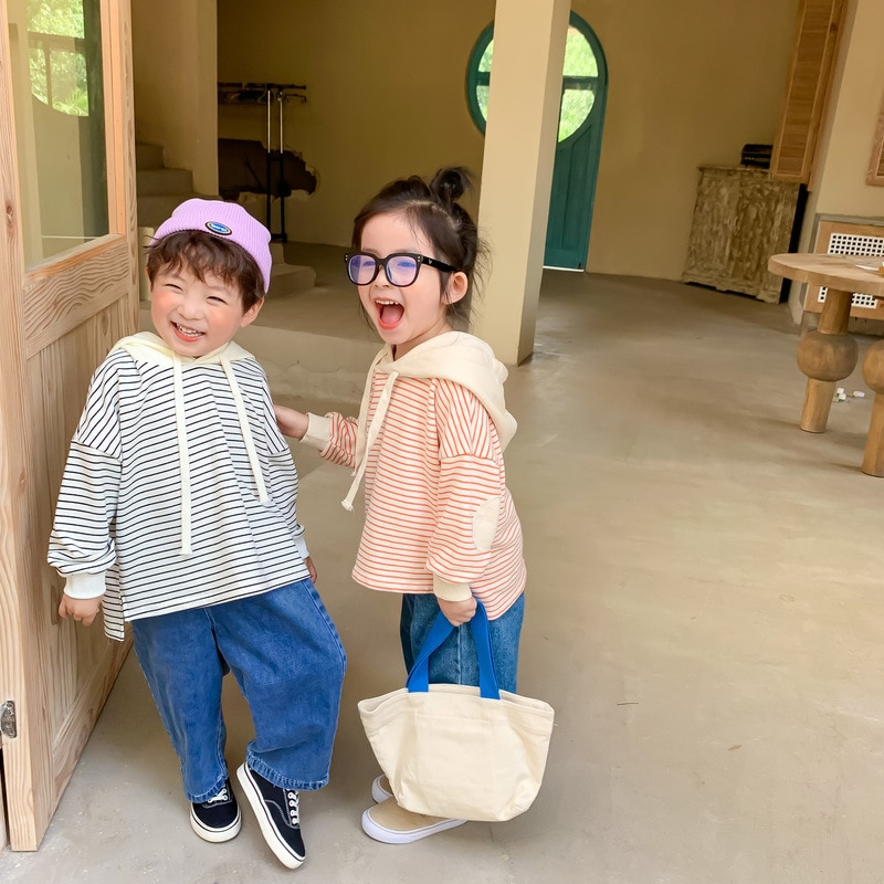 Sudadera con capucha de primavera y otoño para niñas 2020, nueva moda coreana para niños, sudaderas holgadas CON CAPUCHA DE Rayas de estilo extranjero con gorro