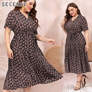 Floral Plus Size Dress v Neck Short Sleeve Loose Midi Dress Casual For Women Clothing SECENSE