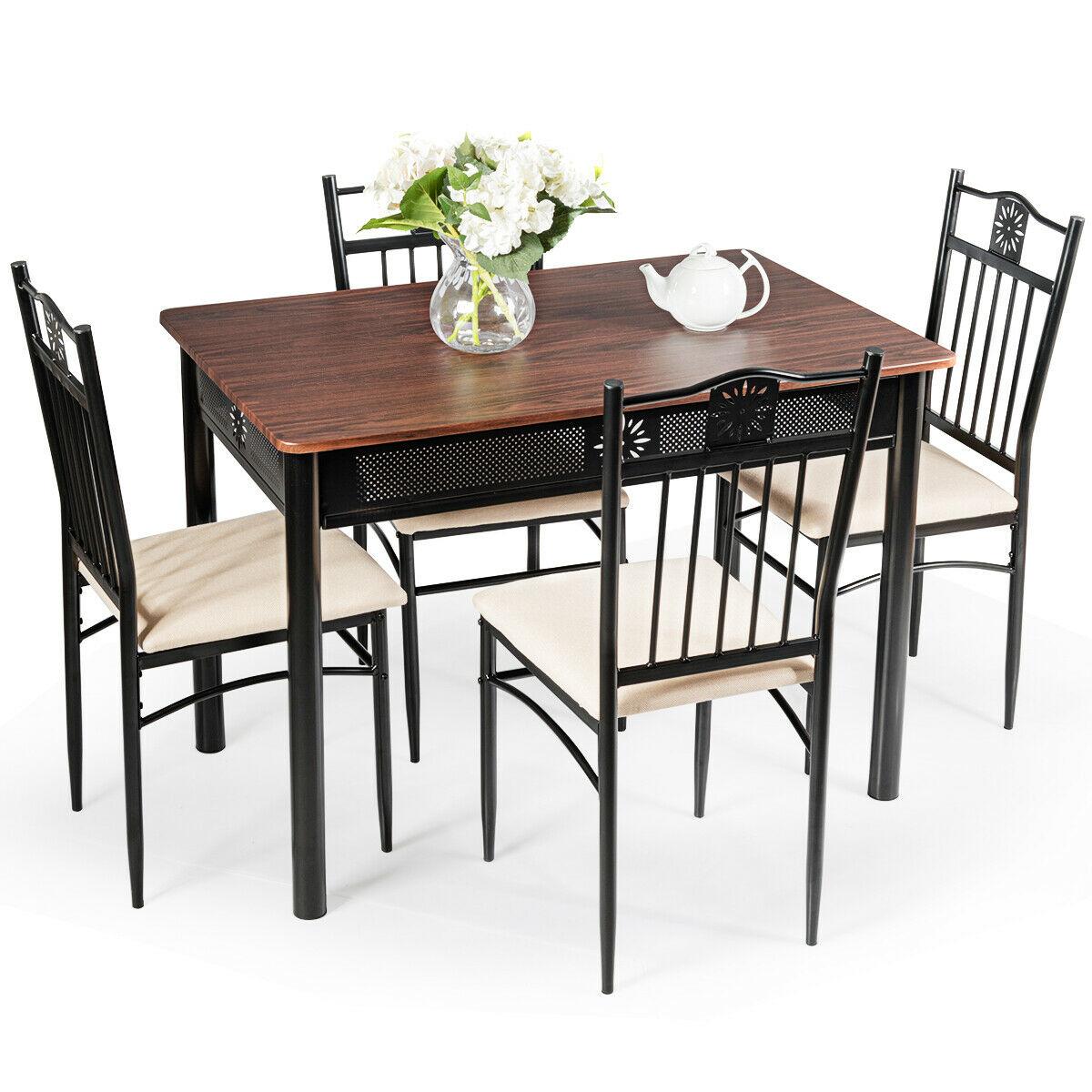 Costway-طاولة طعام خشبية معدنية ، 5 قطع ، 4 كراسي ، أثاث المطبخ لتناول الإفطار