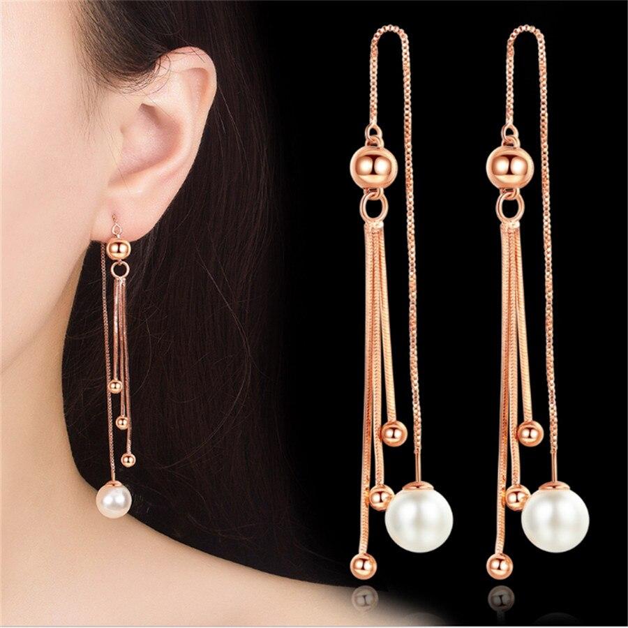 Línea de oreja para mujeres, pendientes de borla Vintage, pendientes de gota para mujeres, joyería de lujo, pendiente largo colgante