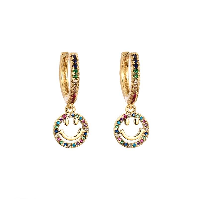 Frauen gold cz lächeln drop ohrring regenbogen crown key ohrringe zirkonia crystalearrings für frauen dropshipping