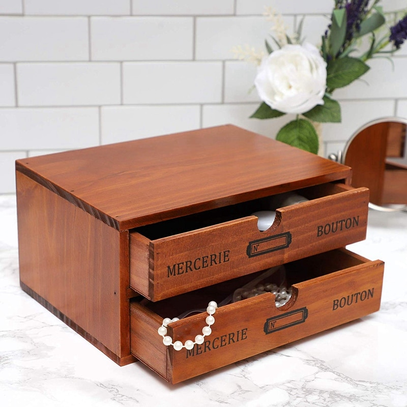 منظم سطح المكتب الخشب صندوق تخزين صغير مع أدراج ، تخزين سطح المكتب التصميم الفرنسي