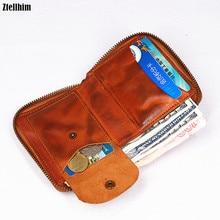2020 Genuine Leather Men Wallet Mens Vintage Short Zipper Wallets Women Purse Carteira Masculina With Card Holder Coin Pocket