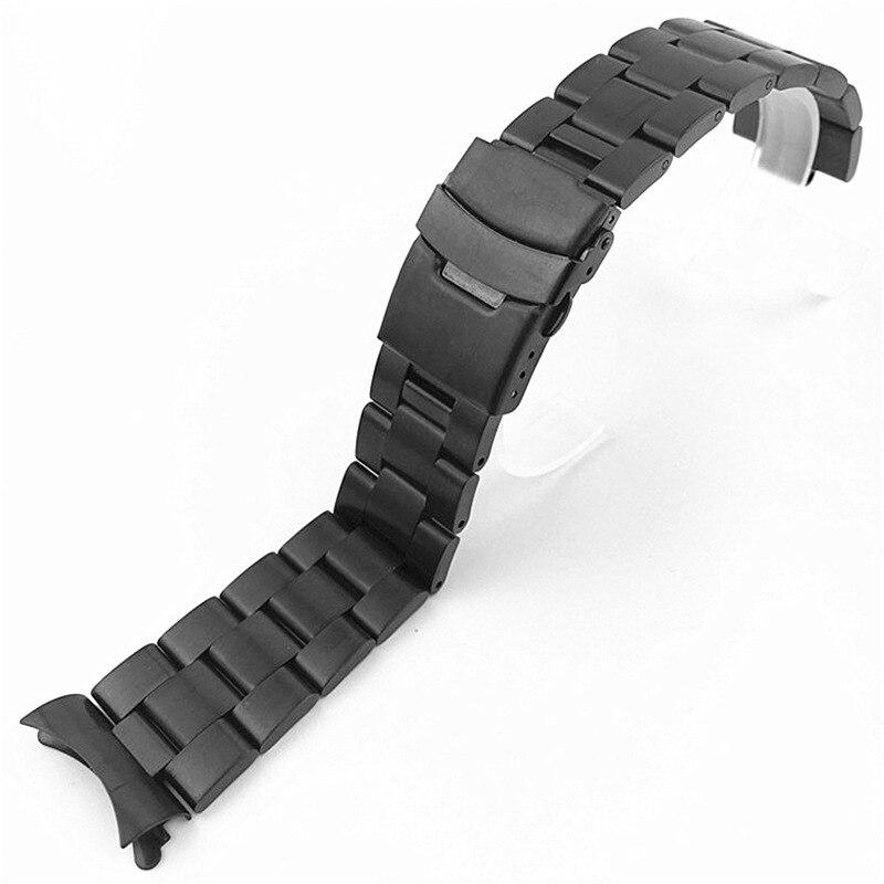 20mm 22mm Faixa de Relógio de Aço Inoxidável Pulseiras final Curvo Substituição Para Seiko SKX007 SKX009 SKX011 Preto Prata Pulseira