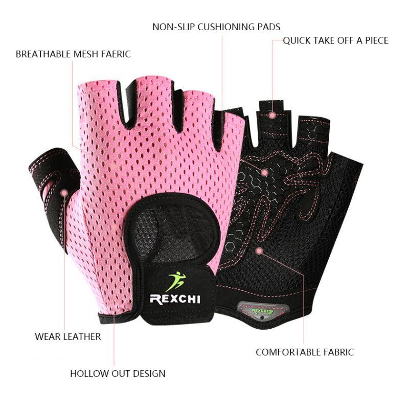 1 Pair Fitness Half-finger Gloves Breathable Mesh Gym Non-slip Dumbbells Exercise Cycling Sports