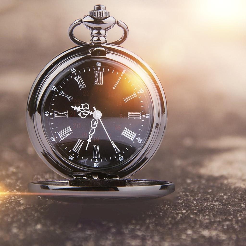 Os homens assistir Homens de Aço Inoxidável relógio de bolso Simples Retro Romântico Duplo display escala Roman relógio de bolso карманные часы Y10.28