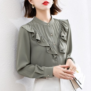 Blouse Women Autumn New Ladies Shirt Korean Fashion Stand Collar Solid Slim Long Sleeve Sweet Solid Color Chiffon Girl Japanese