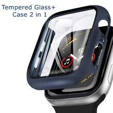 Cristal + cubierta para funda de Apple Watch 6/SE/5/4/3/2/1 iWatch 42mm 38mm parachoques de vidrio templado para apple watch 44mm 40mm 42mm 38mm
