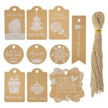 50 шт./компл., Микс, крафт-бумага, этикетка, веселая Рождественская открытка, Подарочная бирка, сделай сам, ручная работа, бирки для рождествен...