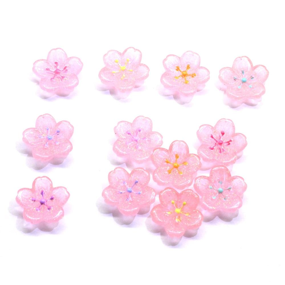 50/100pcsColorful resina mixta Flor de Sakura Flatback Cabochon embellecedores para el móvil Scrapbooking Cerezo flor Slime DIY Acc