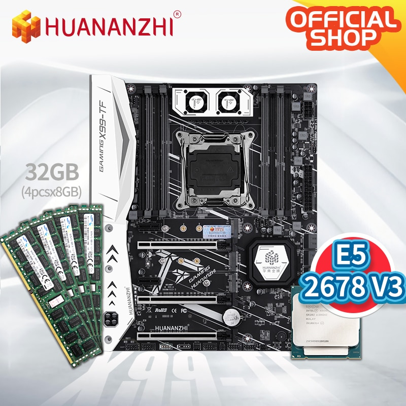 HUANANZHI X99 TF X99 Motherboard with Intel XEON E5 2678 V3 with 4*8G DDR3 RECC memory combo kit set SATA 3.0 USB 3.0