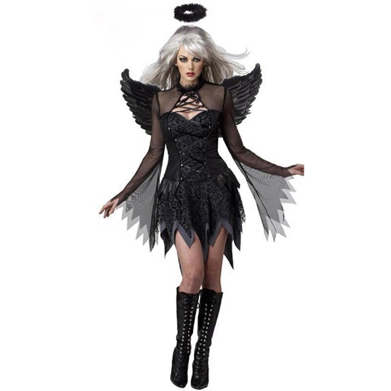 Disfraz de Halloween con alas de Ángel negras, lencería Sexy, Cosplay, Disfraz...
