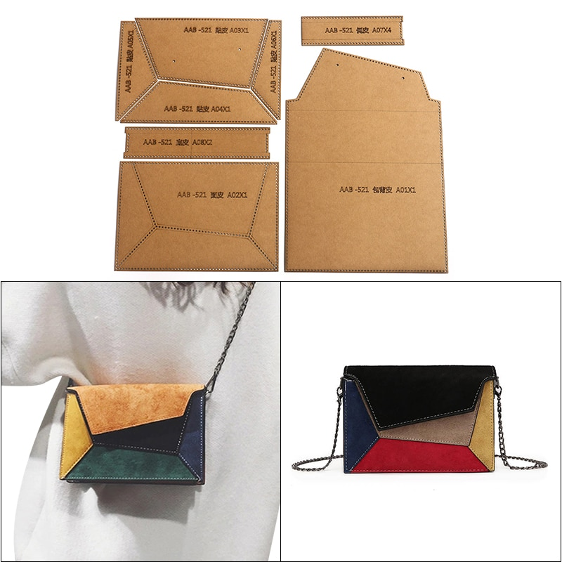 1Set DIY Kraft Paper Template Fashion Lovely Women's Shoulder Bag Leather Craft Pattern DIY Stencil Sewing Pattern 21cm*14.5cm
