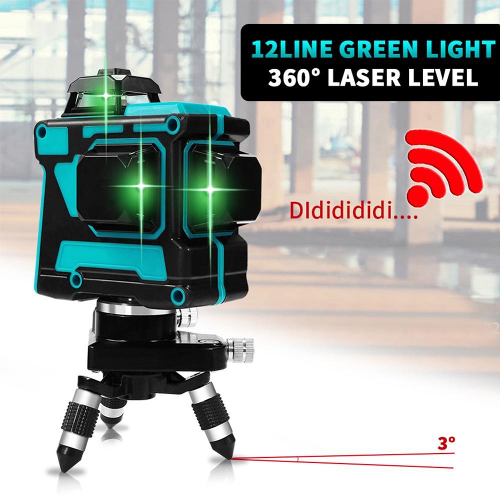Laser Level 12 Lines 3D Self-Leveling 360 Horizontal And Vertical Cross Super Powerful Green Laser Beam Line leter 12lines 3d laser level 360 laser electronic leveling laser beam line