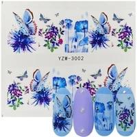 1pcs nail art water decals butterfly flower blue designs for women full cover sticker decor watermark slider sticker summer tips