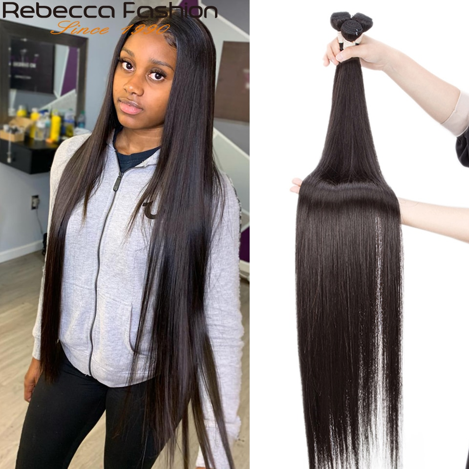 Rebecca 32 34 36 38 40 inch Straight Hair Bundles Brazilian Hair Weave Bundles 1/3/4 Bundles Deals H