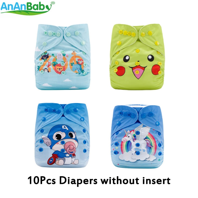 10pcs baby diaper Position Prints Pocket Cloth Nappies Reusable Waterproof PUL Nappies Without Inserts