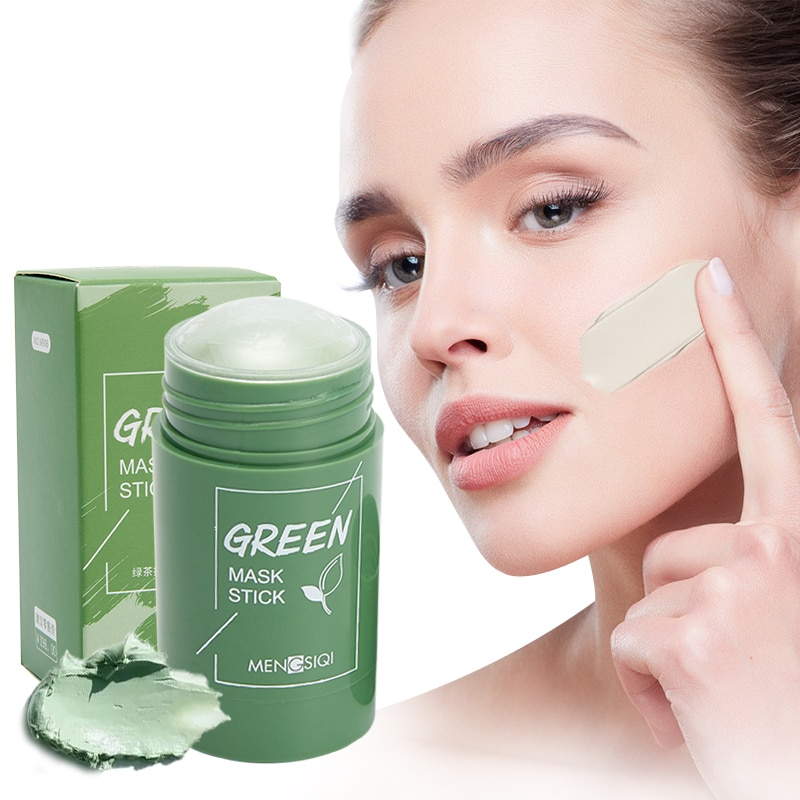 Green Tea Cleansing Mask Stick Solid Mask Oil Control Anti-Acne Blackhead Remover Eggplant Solid Cleaning Mask Skin Care Tools