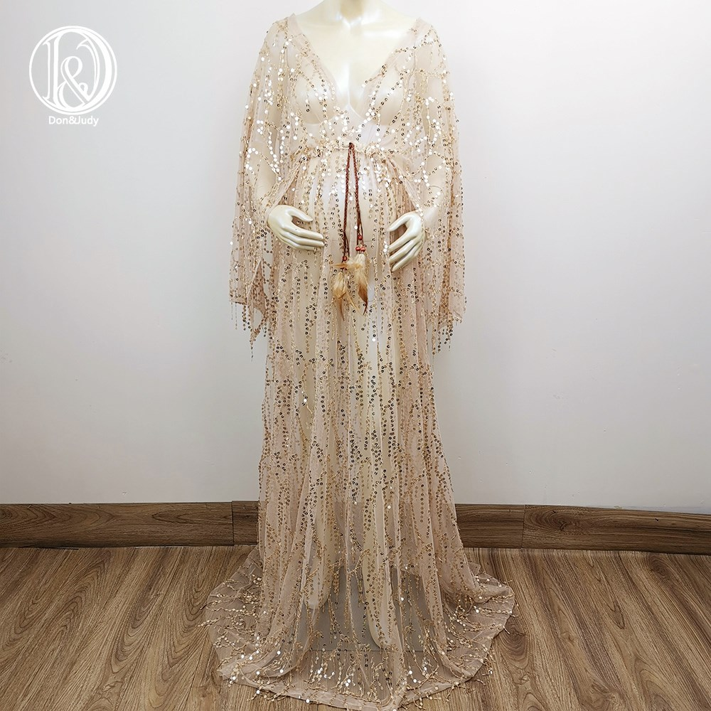 Gold Sequent Dress Maternity Robe Nonmaternity Kaftan Photo Shoot Baby Shower Boho Evening Party Shooting Prom Maternity Couture enlarge