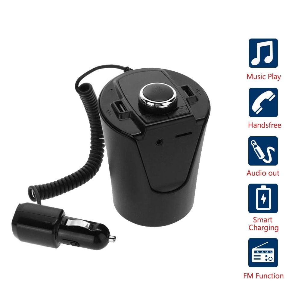 Coche Bluetooth FM Transmisor reproductor de música soporte de taza manos libres llamada soporte U disco TF tarjeta Dual USB cargador de música jugador