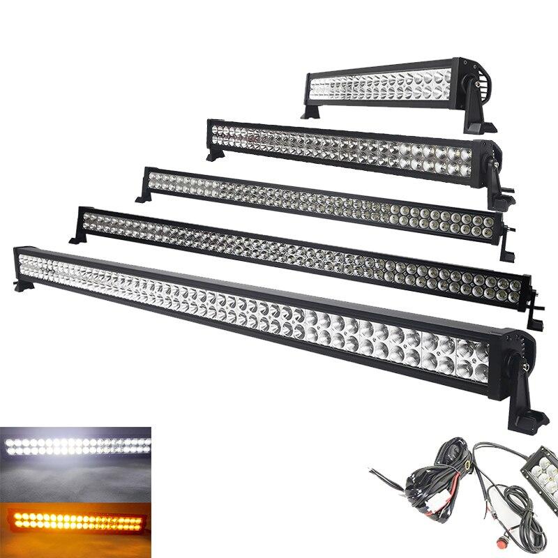 "50 ""32 pulgadas 288W blanco recto/ámbar/Strobe flash luz Led Bar Combo control remoto inalámbrico para Offroad camión 4X4 ATV SUV"