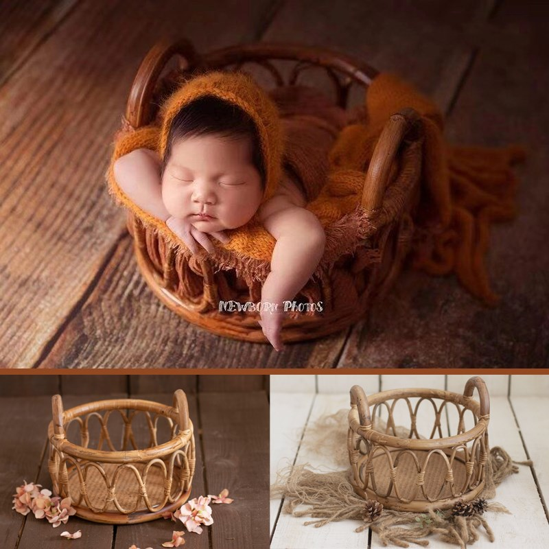 New Newborn photography props Retro Rattan Round Basket Lying Container Baby Shooting Decoration Supplies Studio Props Kids Toys enlarge