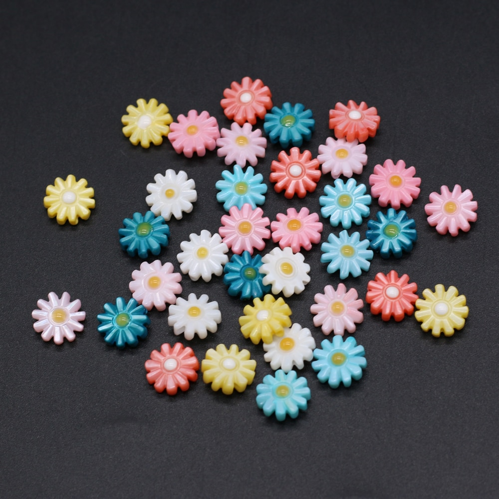 5pcs Natural Shell Flower Beads Seven Colors Sun Flower Shell Loose Beads for Making DIY Jewerly Necklace Bracelet Accessories недорого
